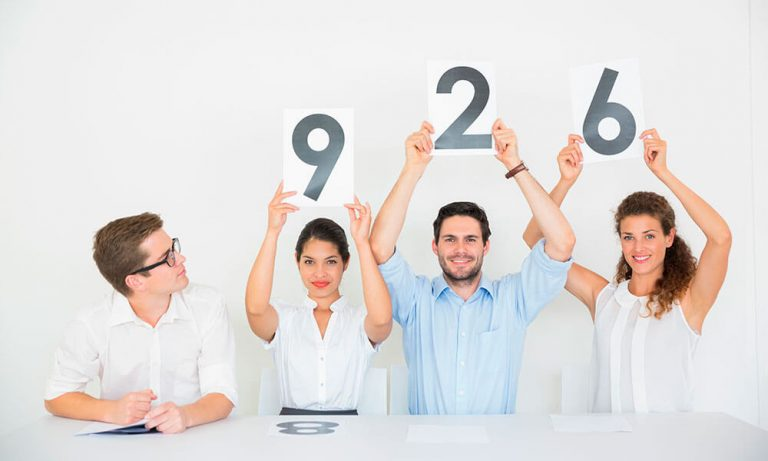 lead scoring by people holding numbers above their head